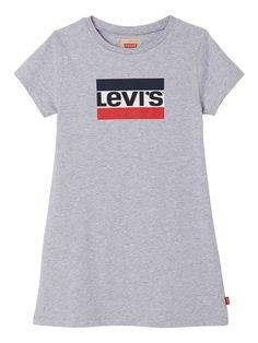 Levi's Girls Short Sleeve Logo T-Shirt Dress - Grey Marl Girls Wardrobe, Casual T Shirts, Short Girls, Baby Wearing, Gray Dress, 6 Years, Kids Girls, Girl Outfits, Short Sleeves