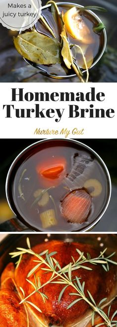 Homemade Turkey Brine made with vegetables, coconut sugar and aromatics.  This easy brine will make the juiciest turkey for Thanksgiving!  Easy, fool proof recipe.