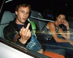 Heath Ledger giving the finger to paparazzi in 2006.