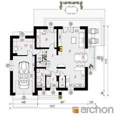 gotowy projekt Dom w tamaryszkach 2 (NT) rzut parteru Floor Plans, Architecture, Home, Planters, Projects, Arquitetura, Ad Home, Homes, Architecture Design