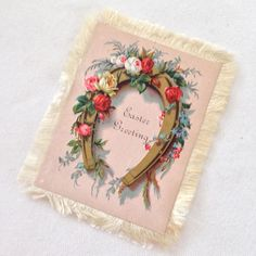 Victorian Silk Fringed Easter & Good Luck Double Sided Card