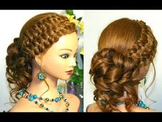 Curly updo hairstyle for long hair with braids - YouTube