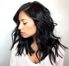Medium Wavy Messy Black Hairstyle