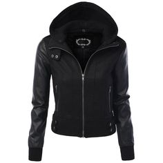 LE3NO Women's Zip Up Faux Leather Moto Jacket with Hoodie ($31) via Polyvore