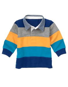 Bold stripes and chambray collar make this rugby shirt a hero season after season. Half button collar with placket trim adds a sporty touch to his stripey style. (Gymboree 3m-5T)