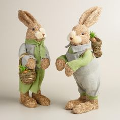 Dressed up in soft cotton clothing in shades of green and gray, this handsome bunny pair is handcrafted of natural fiber and ready to add charm to your springtime decor. She has a basket of carrots over her arm, while he's outfitted with a carrot-filled backpack.