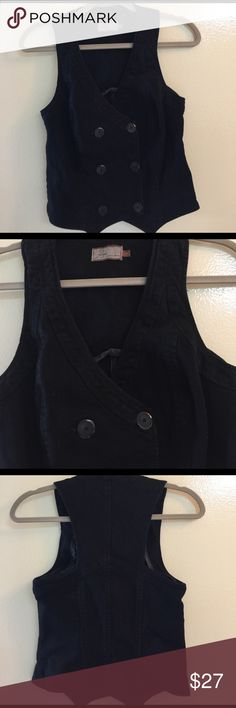 Paige Premium Denim Black Double Breasted Vest This heavy black Denim vest is the real deal and quality and style are both extraordinary. It is in perfect condition and ready to go! It is 98% Premium Denim and 2% Spandex. It will hold it's great shape and be a lifetime piece in your closet. Paige Tops
