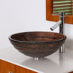Elite 70172659 Antique Bronze Tempered Glass Bathroom Vessel Sink With Faucet Combo | Overstock.com Shopping - Great Deals on Elite Bathroom Sinks