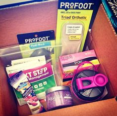 @Influenster #GoVoxBox Profoot Bath Scrub, Profoot Triad Orthotic shoe inserts, Next Step Fit n Full Protein Shake and Blender (Vanilla, Chocolate, Berry), Blue Diamond Blueberry Almonds, Aqua Spa Bath Salts, PlayOn Sport, and Mullen Yogurt Coupon!