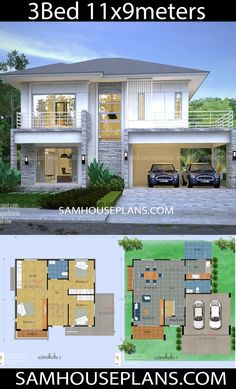 House Plans Idea with 3 bedrooms – Sam House Plans – House Design 3d House Plans, Model House Plan, House Layout Plans, Family House Plans, House Layouts, 2 Storey House Design, House Front Design, Small House Design, Small House Layout