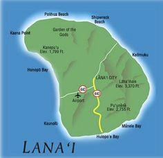 Hawaii island map of the island of Lanai, home to the Four Seasons Hotel Lanai Aloha Hawaii, Hawaii Vacation, Hawaii Travel, Vacation Spots, Alaska, Beach Gardens, Hawaiian Islands, Beautiful Islands