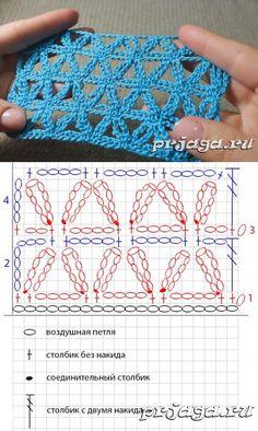 Delta-type chain lace. Ажурный узор из цветочков крючком, видео