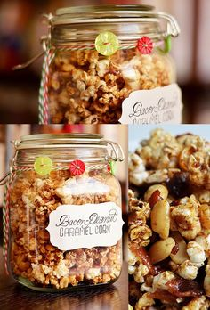 Bacon-Peanut Caramel Corn  Makes 16 cups, enough to fill 4 34-oz clip jars (pictured here INGREDIENTS ½ cup popping corn kernals (or use 16 ...