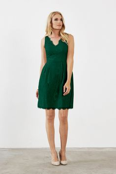 Weddington Way Olivia Bridesmaid Dress in Emerald Green in Lace
