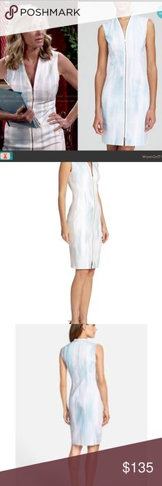 NWT Elie Tahari subdued painterly zipper dress Neiman Marcus Fall 2017 collection! Also worn by Eileen Davidson on The Young and the Restless.           Elie Tahari subdued painterly printed dress with mesh sides and shoulders. V neckline; full-length zip front. Sleeveless. Sheath silhouette. Cotton/spandex; polyester sides/lining; polyester/spandex side lining. Dry clean. Elie Tahari Dresses Midi