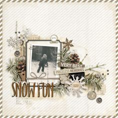 wonderful #vintage #scrapbook page by Irene at #designerdigitals #snow #winter