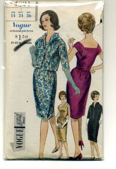 VSD 4221 1Pc Dress & Jacket 1961 Skirt with gathers at side front and back joins bodice at waist-line.Square front & back neck-line.Cap sleeves.Slightly fitted  jacket has built up neck-line & below elbow length kimono sleeves.Sz14/34/36 complete end 22.5+fr 3/17/17