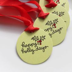 Holiday Gift Tags Happy Holly Days  Set of 6 by FreshLemonBlossoms, $4.95