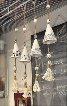 Porcelain Bell with Tassel by weepots on Etsy Mehrceramic bells with natural fibersA interesting way to use ceramic transfer papersmore wind chimes Ceramics Projects, Clay Projects, Slab Pottery, Ceramic Pottery, Pottery Mugs, Pottery Bowls, Pottery Wheel, Pottery Art, Ceramic Clay