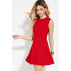 Forever 21 Women's  Mattelasse Fit & Flare Dress ($25) ❤ liked on Polyvore featuring dresses, sleeveless fit and flare dress, red print dress, pattern dress, woven dress and full length dress