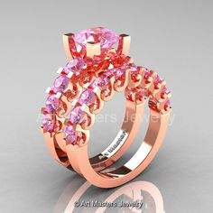 Modern Vintage 14K Rose Gold 3.0 Ct Light Pink by artmasters