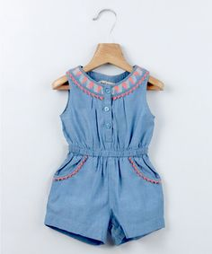 Blue Chambray Embroidered Jumpsuit  by Get Ready for Summer: Beebay Girls on #zulilyUK today!
