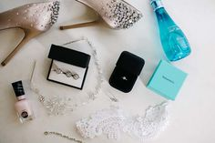 So Cool! A wedding day flat-lay of the bride's accessories! // Image by Clarzzique Photography