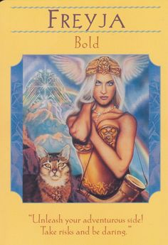 Freyja Bold  Goddess of love and war. She could turn herself into a bird by putting on a magic falcon-skin. She was the sister of Frey who made sure that the sun shone, rain fell and the crops grew.