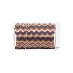 SheIn(sheinside) Mulitcolor Chevron Straw Flap Chain Bag ($18) ❤ liked on Polyvore featuring bags, handbags, shoulder bags, multi, flap handbags, chain shoulder bag, chevron handbags, chain purse and vintage handbags
