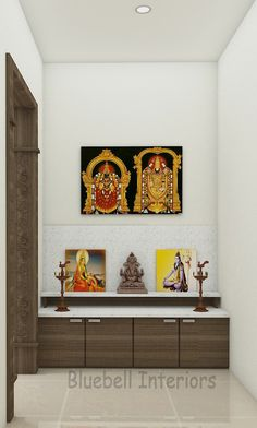 White Quartz Counter, Pooja Room Design, Pooja Rooms, Wall Cladding, Room Doors, Quartz Countertops, Gallery Wall, Interior Design, Storage