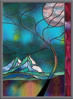 Stained Glass Window Panel 'Stormy Mountain' by on Etsy ♥ Stained Glass Door, Stained Glass Designs, Stained Glass Panels, Stained Glass Projects, Stained Glass Patterns, Leaded Glass, Mosaic Glass, Glass Vase, Fused Glass