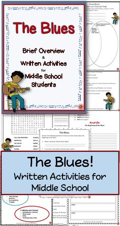The Blues Written and Research activities for Middle School Music class. ♫ CLICK through to preview this resource or save for later ♫