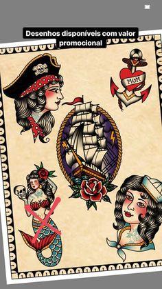 Vintage Tattoo Art, Nautical Tattoos, Monster Tattoo, Tatuaje Old School, Traditional Tattoo Design, Tattoo Illustration, Sailor Jerry, True North, I Tattoo