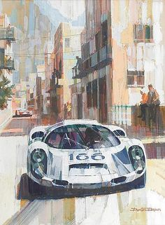 Dexter Brown (British, 1942-), 'Porsche 910/6 at Targa Florio 1967',