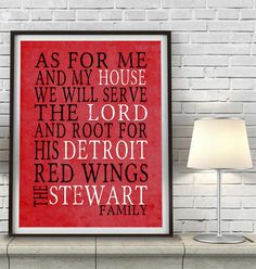 """Detroit Red Wings hockey inspired Personalized Customized Art Print- """"As for Me"""" Parody- Unframed Print"""
