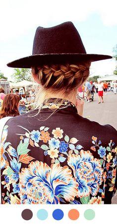 .. kimono. braid under hat ..