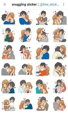 Cute Couple Comics, Cute Couple Cartoon, Cute Cartoon Pictures, Cute Couple Art, Cute Friend Pictures, Cute Bear Drawings, Cute Cartoon Drawings, Love Stickers, Telegram Stickers Love