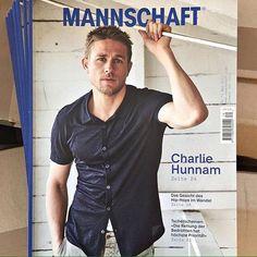 Charlie on the cover of a magazine named MANNSCHAFT  No further caption needed. . #charliehunnam #kingarthur # #sexiestmanalive @mannschaftmagazin