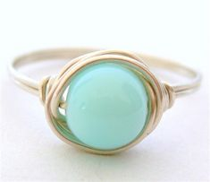 THE HAPPY BLUE peruvian opal wire wrap ring - by Mu-Yin Jewelry