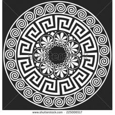 Illustration of set Traditional vintage white round Greek ornament (Meander) and floral pattern on a black background vector art, clipart and stock vectors. Art And Illustration, Vector Graphics, Vector Art, Greek Pattern, Greek Design, Marquesan Tattoos, Greek Art, Mandala Art, Black Backgrounds