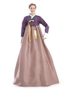 Custom Made Silk Purple Brown Party Hanbok Traditional Korean Dress