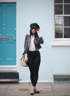 polka dots, leather, black