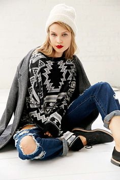 BDG Patterned Intarsia Sweater - Urban Outfitters #dotshopsave