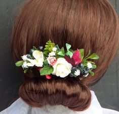 Rustic flower hair comb, Large Faux Comb - Red and white flower comb Rustic Flowers, Faux Flowers, Flowers In Hair, Dried Flowers, Purple Flowers, White Flowers, Wedding Flowers, Flower Hair, Different Flowers