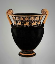 Terracotta volute-krater (bowl for mixing wine and water)  Attributed to the Karkinos Painter Period:ArchaicDate:ca. 500 B.C.Culture:Greek, AtticMedium:Terracotta; red-figure