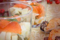 #Receta de #pintxo de ensalada de #trucha #marinada con crema de rábano picante.