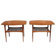 Mid-Century Pair of Tove and Edvard Kindt-Larsen Danish End Side Tables | From a unique collection of antique and modern end tables at https://www.1stdibs.com/furniture/tables/end-tables/