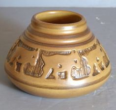 University of Noth Dakota School of Mines Vase, Carved with 7 Coyotes, Art. Sgnd