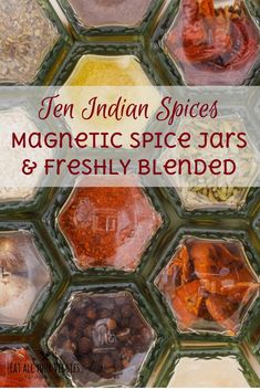 With spices kept on your fridge—they're in sight and you'll use them  more often, dishing up fabulous flavorful food! These gourmet spices  come in magnetic hexagonal glass jars that fit together in a honeycomb  flower. Strong neodymium magnets will keep jars from sliding. #ad (affiliate link)