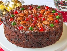 Old English Fruitcake. Dark and moist with plenty of spices and packed with plenty of sweet glacé fruit. It\'s been a Christmas tradition in my family for decades.